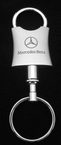 Mercedes key chain dual ring silver for Mercedes benz key rings for sale
